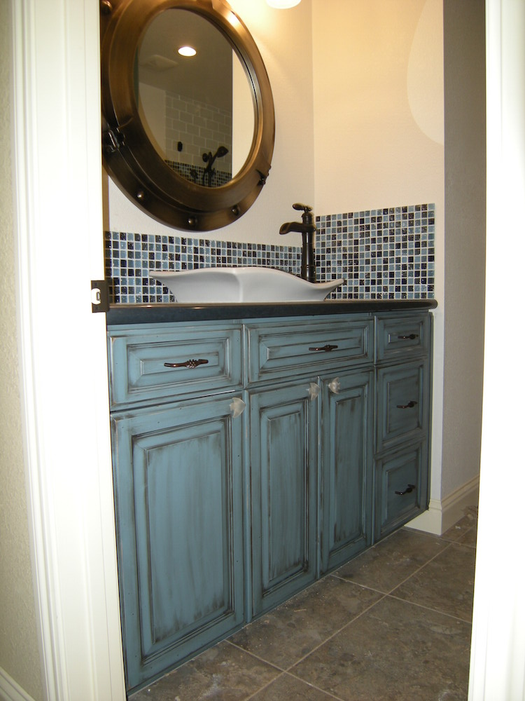 Custom Ocean Blue with glaze Cabinet by Mandina's Custom Cabinets