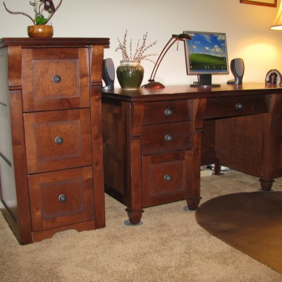 Custom File cabinet , Alder with stain and glaze with matching Desk