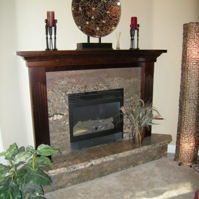 Fireplace Mantel Stained Alder with Fluted Legs