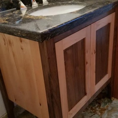 knotty walnut and knotty beech with clear finish, custom Vanity