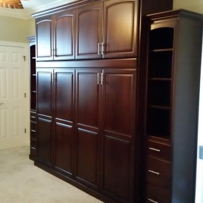 Stained Alder With Hidden Murphy bed by Mandina's Custom Caninets