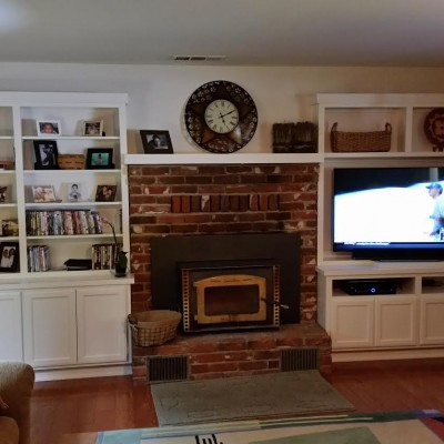 White Lacquer finish custom entertainment room