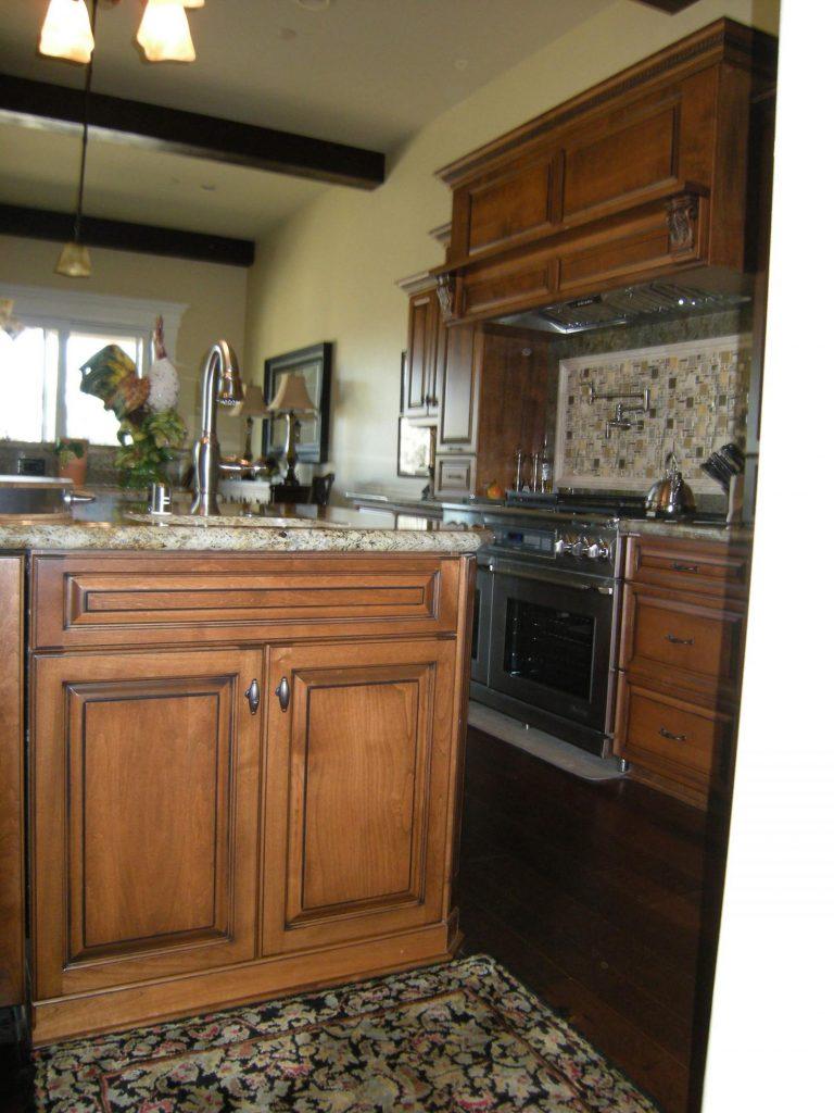 Alder Stained Early American W Black Glaze Mandina S Custom Cabinets